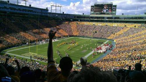 When Storkhead saw the Packers take on the 49ers, he had this 4 star view, from the end zone corner, and was a part of a super excited Lambeau Field crowd. (via Lambeau Field section 347 row 5 seat 9 - Green Bay Packers vs San Francisco 49ers shared by storkhead)