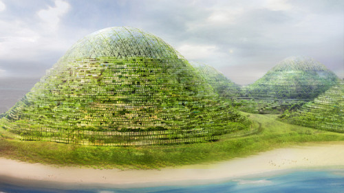 "Dream of the Floating World: ""HavvAda"" is Dror Benshetrit's proposal for a man-made, hilly island city off the coast of Istanbul. The hills would be comprised of geodesic domes which boasted residences on their surfaces, and commercial spaces inside."