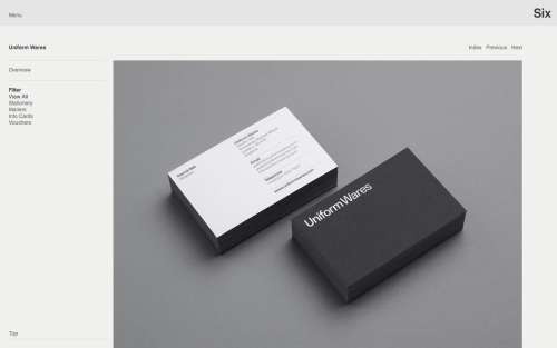 Uniform Wares brand collateral by Six
