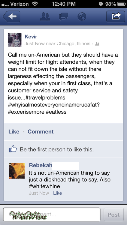 whitewhine:  Why are we still letting fat people on airplanes?
