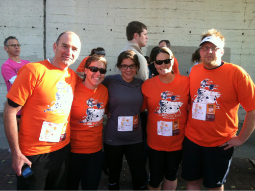 The hubby and I met up with Dale, Jordan, and Erin this morning to run the Big Gay Race 5k. It was a beautiful sunny morning to support a great cause. Over 6,000 people turned out to support Minnesotans United For All Families. Any race with my tumblr peeps is a good race. I heart the internet.