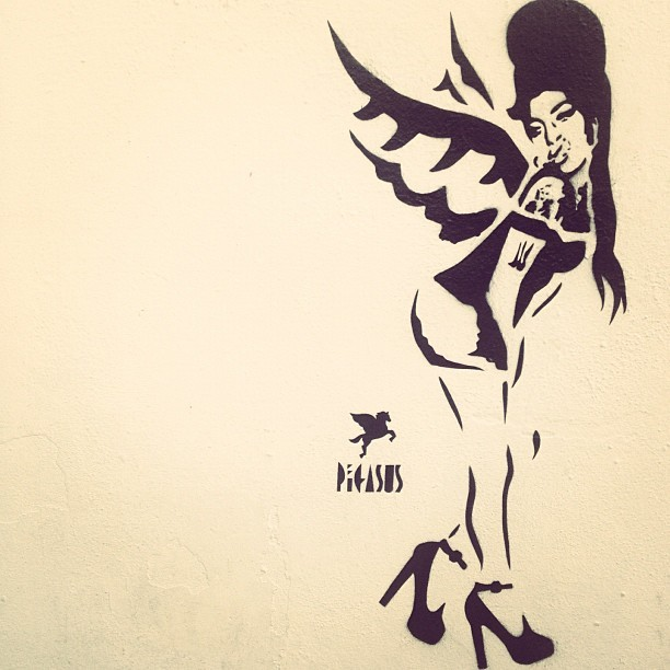 #londonart #pegasus #amywinehouse #camden #starbucks  (Taken with Instagram)