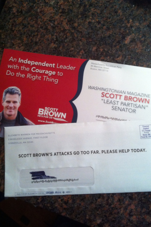 Today's mail in Massachusetts. The Brown postcard is all about his independence. Sorry, Scott, not buying it.