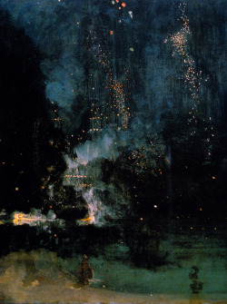 kiishimu:  James Abbott McNeill Whistler, Nocturne in Black and Gold: The Falling Rocket (1875) Here it is: the famous controversial painting at the center of the 1877 argument between Ruskin and Whistler himself.
