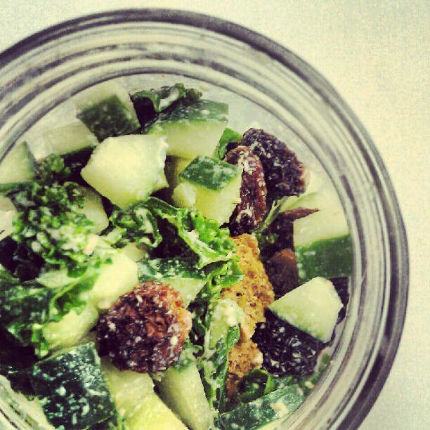 Chipotle kale salad, cucumber, golden berries, raw croutons #rawfood #wildcraftelixirbar  (Taken with Instagram)