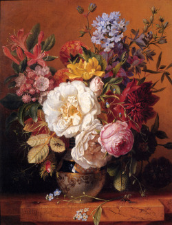 A Still Life with Roses, Forget­ Me­ Nots, Columbines and Cornflowers, Dirk Jan Hendrik Joosten (1818 - 1882)