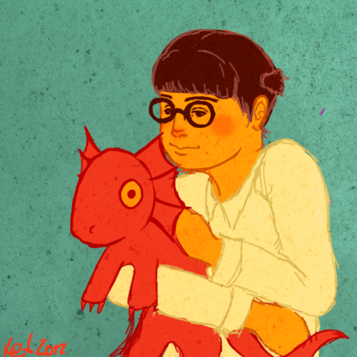 Just a really quick doodle of Cassandra Goth and her pet dragon