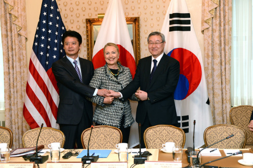 U.S. Secretary of State Hillary Rodham Clinton meets with Japanese Foreign Minister Koichiro Gemba and Korean Foreign Minister Kim Sung-hwan, at the Waldorf Astoria in New York City, September 28, 2012. [State Department photo/ Public Domain]