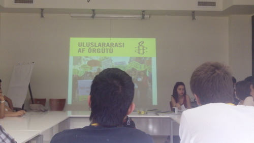 AMNESTY INTERNATIONAL TURKEY  What does Amnesty do in Turkey? The workshop held in the association central office near the British consulate was packed even if involving yourself in human rights in Turkey can be quite dangerous. More than 2000 students languish in prison for taking part in manifestations. Amnesty main agenda is decided internationally /for example this year it will be family planning/, but they also get involved in Turkish right violations like the death of activist Engin Çeber. Tog volunteers will be able to help Amnesty through universities clubs /though they first have to ask the Dean s permission/ or through one of the groups present all over Turkey.     Valentina    http://www.amnesty.org.tr/ai/