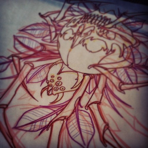 Sketch for future tattoo. #tattoo #tattooflash #skullspider #richmondsttattoo #mikedecay #providence #rhodeisland  (Taken with Instagram)