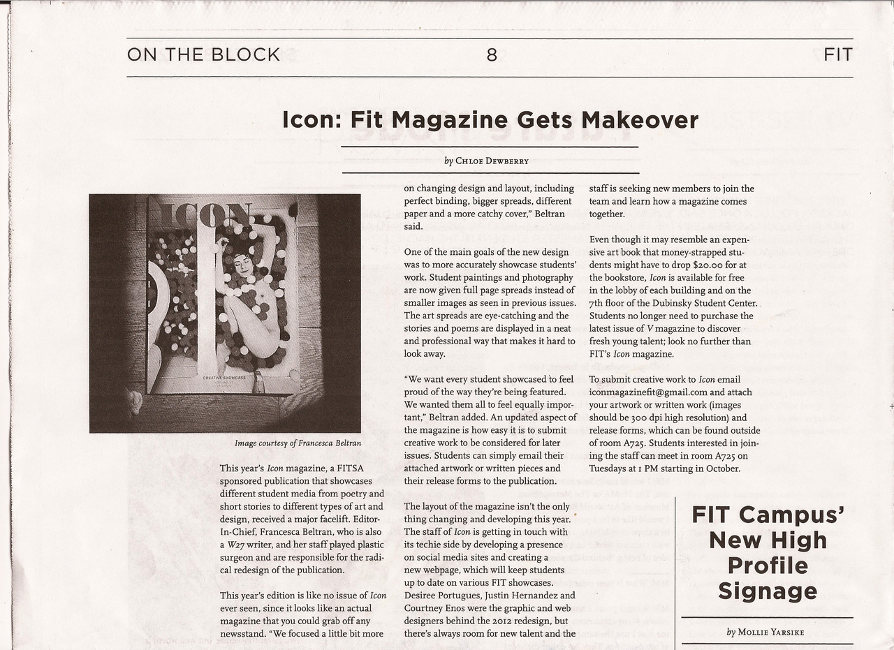 ICON Magazine on W27 Newspaper Editor-In-Chief Francesca Beltran