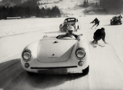 "vintageski:  Still from a 1955 British Pathé newsreel titled ""World's Most Dangerous Sport"" filmed in Bavaria, Germany. Notice that the drivers have helmets but the skiers do not."