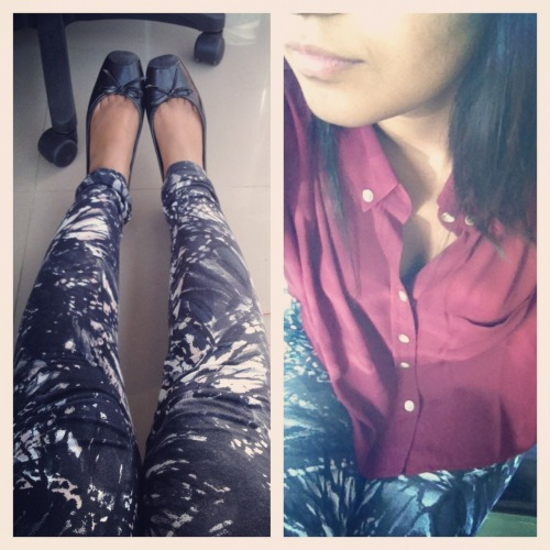 #Todayiwore Forever 21- Maroon Top Grunge printed leggings Black flats