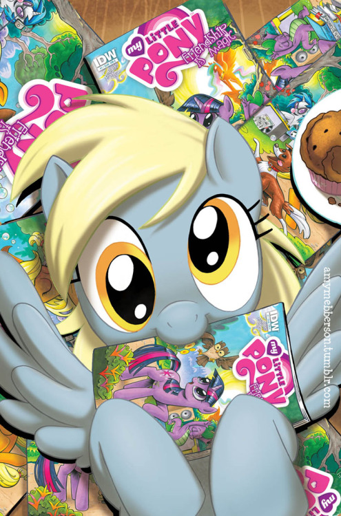 amymebberson:  MLP #1 variant cover for Midtown Comics Derpy can haz comic? The comics in the image are the A & B covers for MLP#1 and are by Andy Price  This is awesome. It's great to see Derpy live on after all that nonsense ^-^