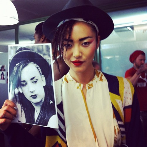 nice! andreagomez:  @LiuWenLW: I was Asian @BoyGeorge at @JPGaultier tonight! Very cool inspiration.