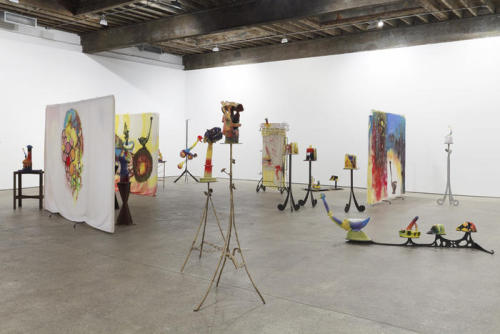 Installation view from Alessandro Pessoli: Fired People. On now- October 20.