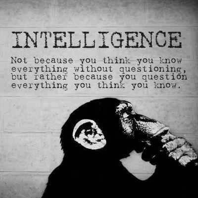 Intelligence: Not because you think you know everything without questioning but rather because you question everything you think you know.