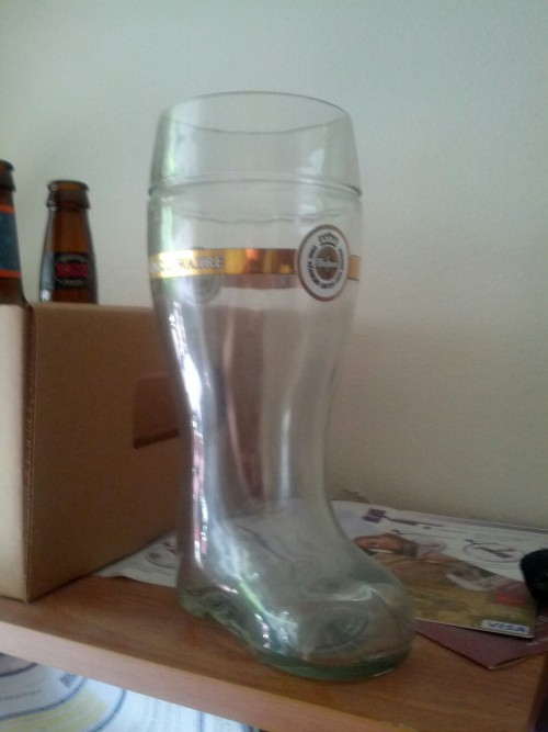 This is the glass boot my team won when we stumbled onto a Northwest Portland bar's Oktoberfest last year and got recruited into a beer drinking contest. We won the whole thing.  Tonight we're going to try and defend our title. I have to be at work at nine tomorrow. Pray for me. Pray for my poor liver.