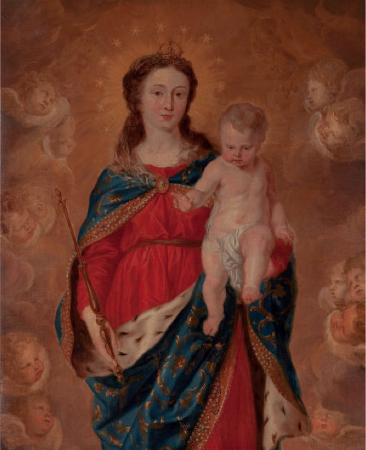 FLEMISH SCHOOL (17th Century) Virgin & Child (Queen of Heaven) Oil on canvas, 50 x 40-1/2 inches