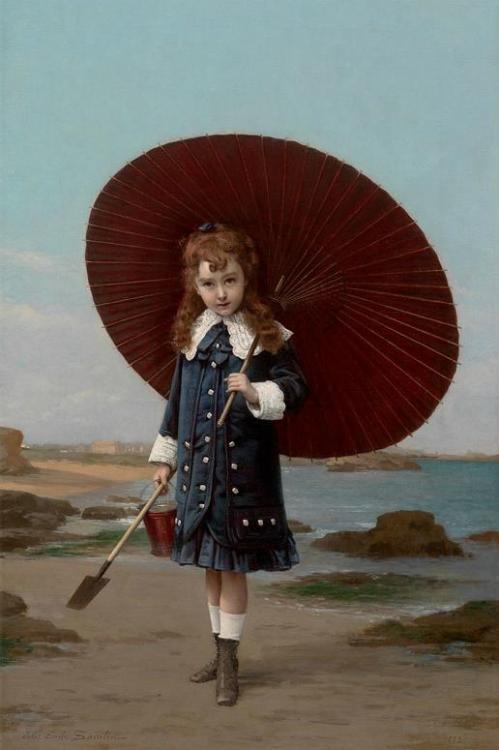sisterwolf:  Jules Emile Saintin - Little Girl With Umbrella, 1882