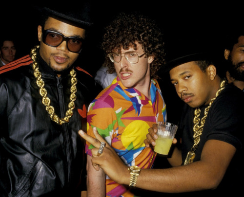awesomepeoplehangingouttogether:  Weird Al Yankovic and Run DMC   The best of both worlds…