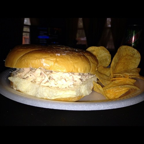 Chicken salad sandwich and watching the UNC football game! #LazySaturday #YuM  (Taken with Instagram)