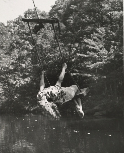 normaltd:  André Kertész - Woman on Swing, Head Back, 1943