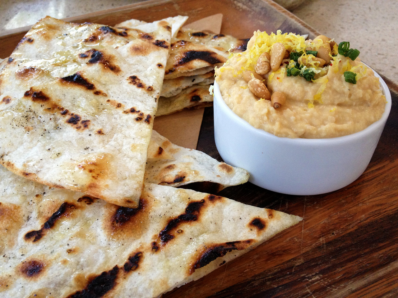 Surprisingly tasty hummus platter from Tudor House. -Gastrodamus