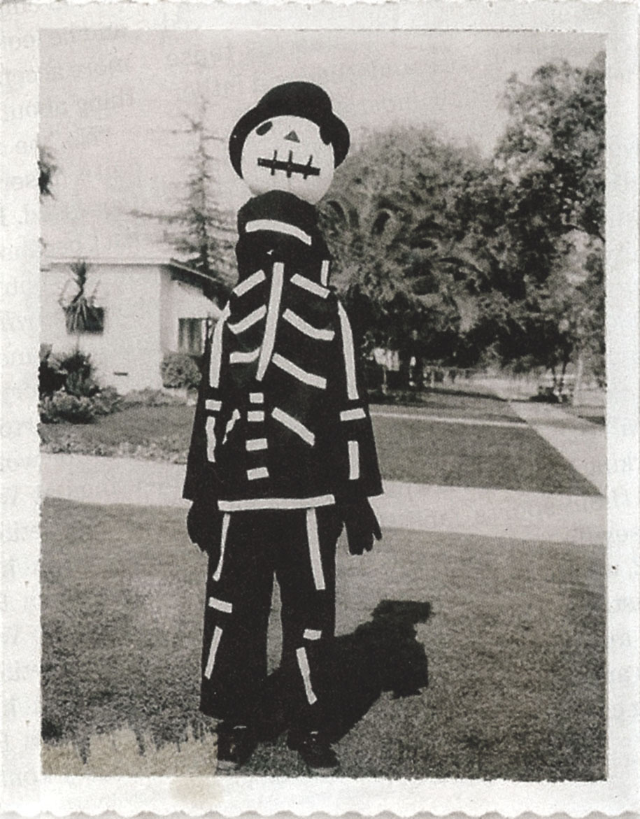 mizenscen:  Tim Burton wearing a Halloween costume made by his mother.