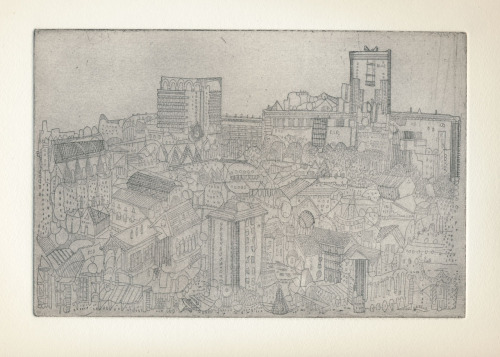 Etching inspired by location drawings from Carlton Hill in Edinburgh, looking towards the Firth of Forth