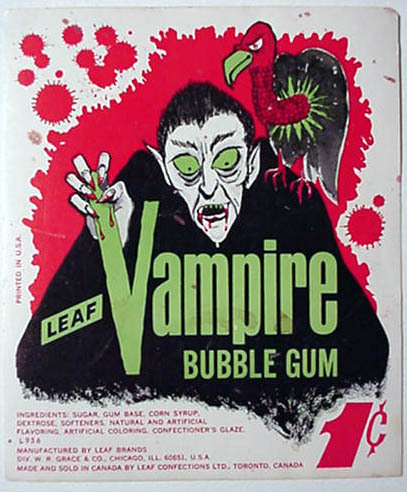 Vampire Bubble Gum vending machine header card (1960s)