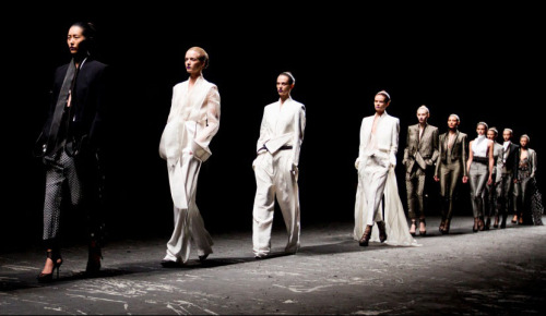 The finale at the Haider Ackermann Spring/Summer 2013 presentation, photographed by Kevin Tachman for Vogue. Haider Ackermann was absolutely amazing.