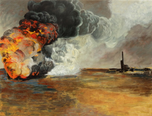 Edwin Gardiner Oil Fire (slightly re worked version) oil on canvas 2012 Exhibition opening 20th October Workspace Gallery, Melbourne Australia.