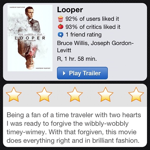 #instareview of #Looper (Taken with Instagram at Alamo Drafthouse Cinema – South Lamar)