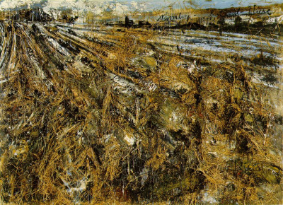 Nigredo. Anselm Kiefer. 1984 (290 Kb); Oil, acrylic, emulsion, shellac, and straw, on photograph, mounted on canvas, with woodcut, 330 x 555 cm (130 x 218 1/2 in); Philadelphia Museum of Art