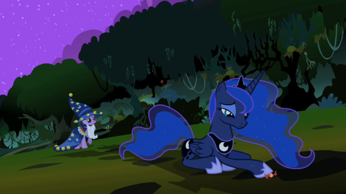 The Real Princess of the Night by KefkaFloyd, Editor in Chief of The Round Stable  Luna is literally sitting in the shadow of the statue of Nightmare Moon, pondering her botched meeting with the citizens of Ponyville. She pushes a single piece of candy towards her alter ego, asking to not be eaten up by her past. This piece of subtle storytelling could be missed easily, but it's a treat for anyone that pays attention.  I love discussing little visual tidbits like these. I also highly recommend checking out all the editorials from The Round Stable. They write on all manner of things in a witty and professional tone, from the specifics of the animation behind the show, to writer spotlights, to episode theme breakdown; all very interesting stuff.