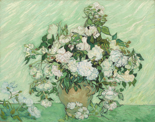 skeletells:  artpedia:  Vincent van Gogh - White Roses, 1890. Oil on canvas   the colours in this are brilliant