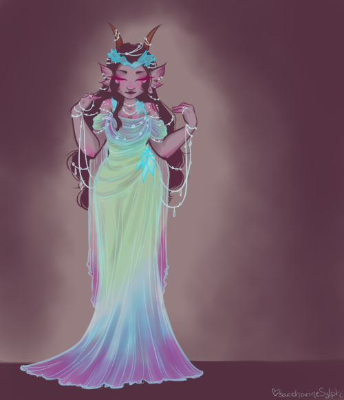saccharinesylph:  Gown of Dew and Glass. To match the Aradia one. Wasn't really actively referencing gowns for this one.