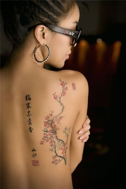 ifashiongirls:  Chinese cherry blossom - sakura tattoo 2(via Best outfits for 365 days | iFashionDesigner.org)