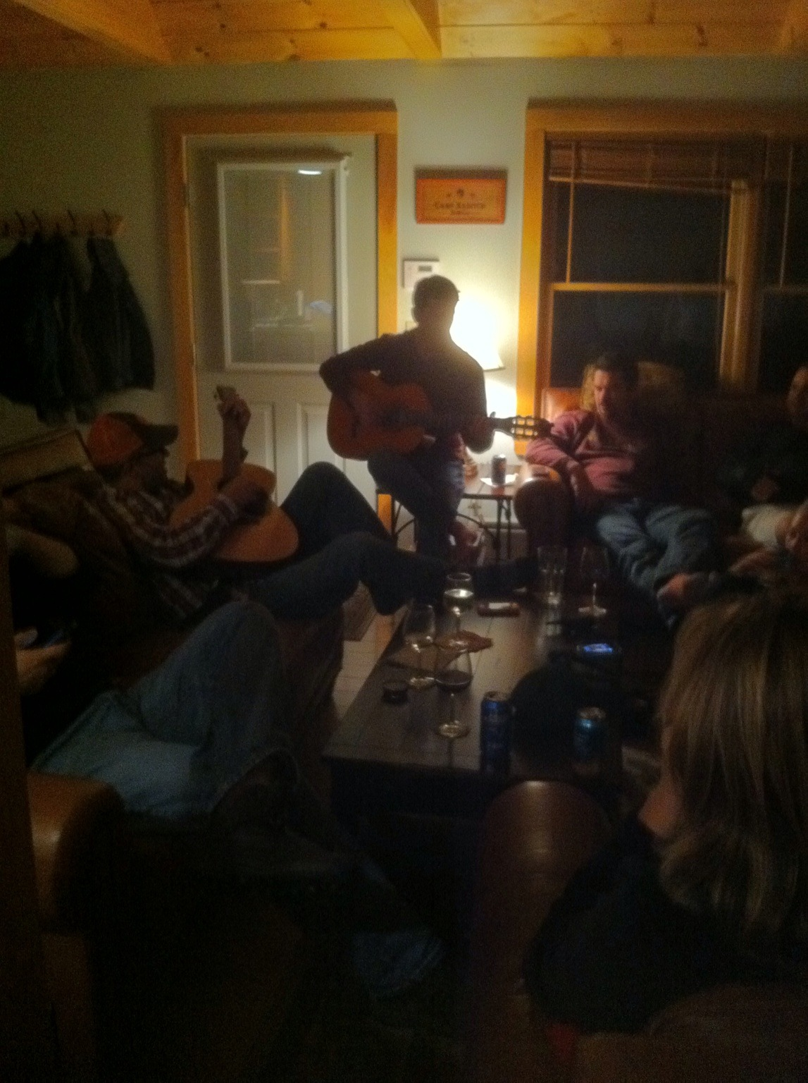 Jamming in a cabin in the woods. at Duncan Lake – View on Path.