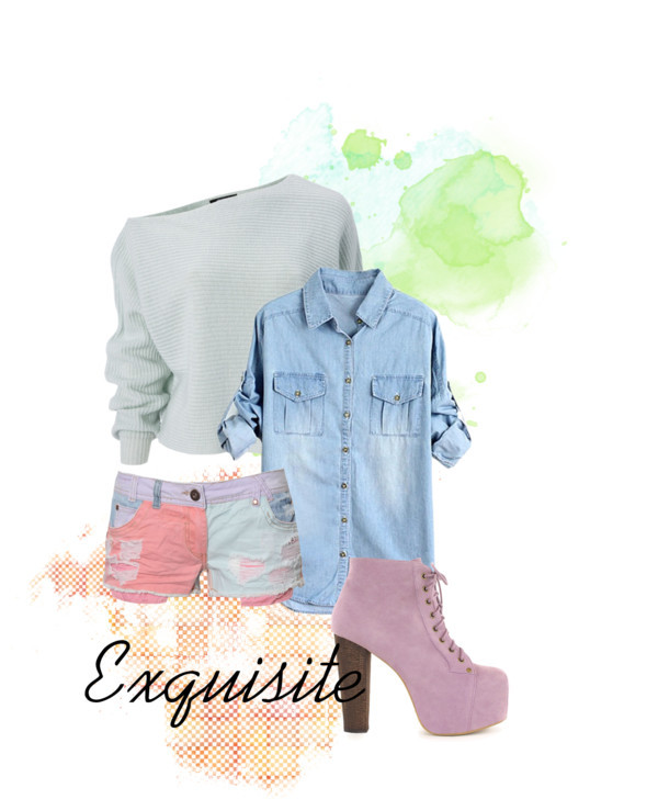 Exquisite by elleeh featuring a denim shirtDenim shirt / Knit top, $26 / Ribbon, $24 / Jeffrey Campbell high heels, $285