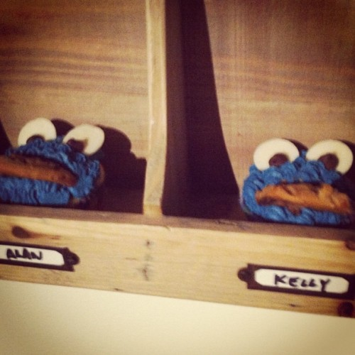 Cookie Monster cupcakes in the inboxes for Kelly & Alan. (Taken with Instagram)