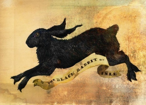 "thevintaquarian:  ""The Black Rabbit of Inle"", original illustration from the studio of Rob Bridges.  Remember reading Watership Down?"