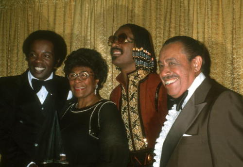 Stevie Wonder and Lou Rawls with Cab Calloway and Ella Fitzgerald. I almost fainted when I saw this quartet of legends from the 1970s. Photo: Michael Ochs Archives/Getty.