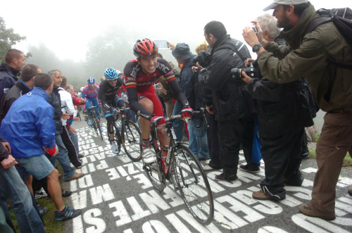 Former World Champion Alessandro Ballan was looking good on the climb of the Muro di Sormano… via BMC Racing Team.