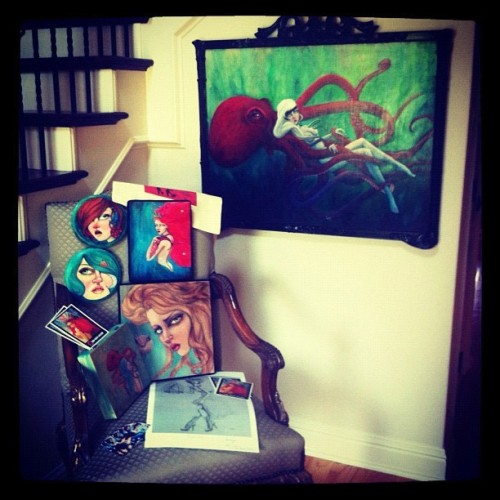 A collection of my work at it's new home in Ft Worth Tx #art #artist #sealife #sonsofthesirens #show #painter #painting  #instagood #love   (Taken with Instagram)