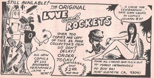 nuxxfromtheforum:  Advert for the original self-published version of Love and Rockets #1.