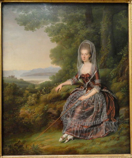 Baroness Matilde Guiguer de Prangins in her Park at the Lake of Geneva by Jens Juel, 1779, Statens Museum for Kunst Giant image