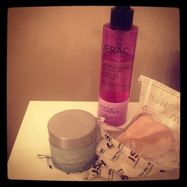 Tonight's skincare — @kiehlsnyc , @lushcosmetics and @lieracskincare - pure, simple, effective. Goodnight! (Taken with Instagram)
