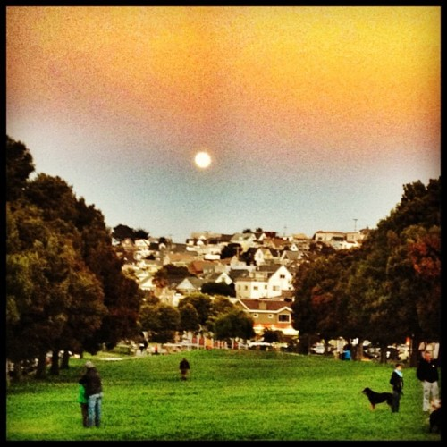 The moon is in the sky #sanfrancisco #sf #bernal #moon #sunset  (Taken with Instagram at Precita Park)